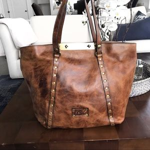 🍂 PATRICIA NASH LARGE COGNAC LEATHER BAG!